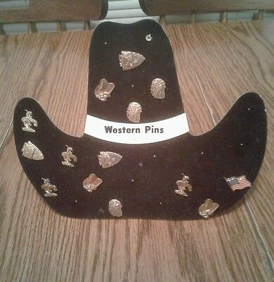 Vintage Lot of 14 Western Pins with Cowboy Boot Hat Display!!!