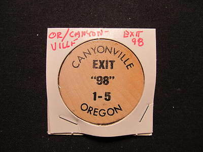Canyonville, Oregon Wooden Nickel token - Feed Lot Restaurant Wooden Coffee Coin