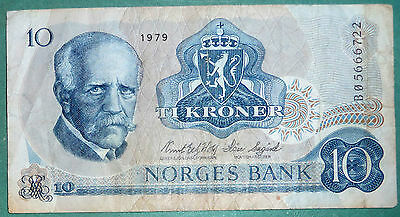NORWAY 10 KRONER  NOTE FROM 1979, P 36 c, NANSEN