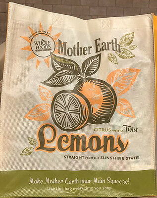 2x Summer Reusable Whole Foods Bag Environmentally Friendly Retro Beach Tote