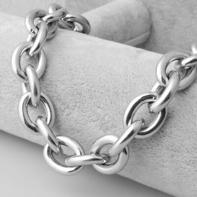 15MM Heavy Polished 316L Stainless Steel Silver Rolo Chain Men's Necklace 24""