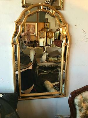 LARGE ANTIQUE FRENCH LOUIS STYLE ARCHED GOLD CUSHIONED MIRROR..106cm