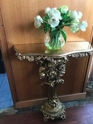 Gorgeous French Style Gold Timber Ornately Carved Pedestal Demi Lune Table