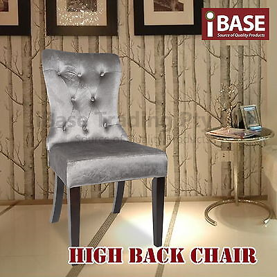 Dining High Back Chair Velvet Coated Kitchen Living Room Wooden Frame Grey Free