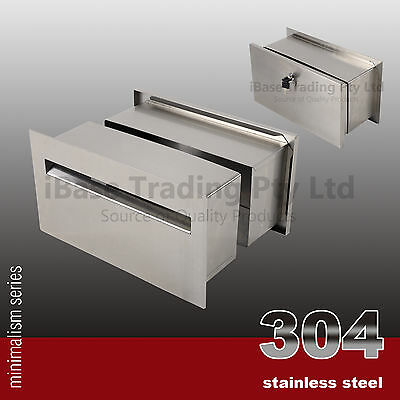 304 Stainless Steel Wall Embedded Mailbox Letterbox Post Letter Mail Box Free