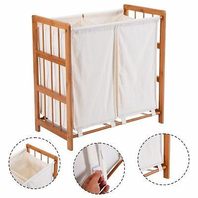 Household Bamboo Frame Laundry Sorter Hamper Clothes Storage Basket Bin w/ Bag