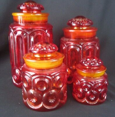 Vintage L E Smith Amberina Red Moon & Stars Canister Apothecary Jars Set Of 4