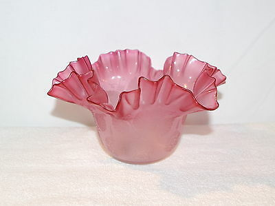 Light Cranbury Pink Etched Ruffled & Crimped Lamp Light Shade