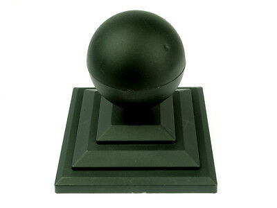 "Linic 8 x Black Sphere Round Top Fence Finial & 4"" Fence Post Cap UK Made GT0035"