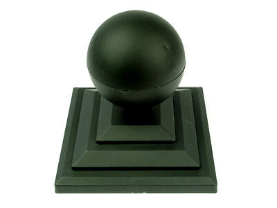 "Linic 1 x Black Sphere Round Top Fence Finial & 3"" Fence Post Cap UK Made GT0025"