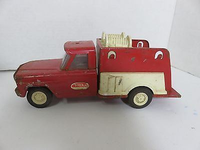 "1960s TONKA Fire Dept RED Jeep Fire Fighter Pumper Toy Truck 9.75"" Pressed Steel"