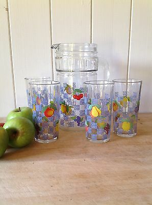 Vintage French Glass Pitcher Jug and Four Glasses Set French Retro Kitsch