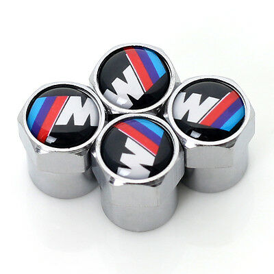 Set of 4 Chrome Coloured Stainless Steel BMW M Tech Tyre Valve Dust Caps