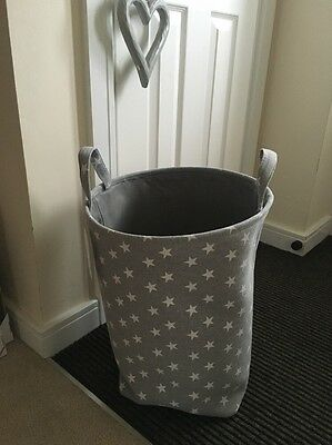 Girls Boys Grey Star Nursery Baby Laundry Clothes Toy Hamper Storage Box Bin