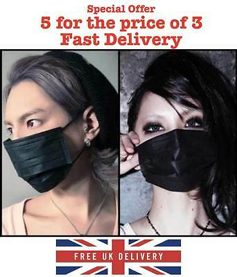 Non Woven Black Face Mask, Anti-Dust, cycling, smog, carbon active x 3..