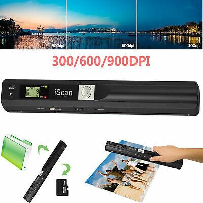 900DPI Handheld Cordless Document Photo Scanner Portable A4 Book File Handy Scan