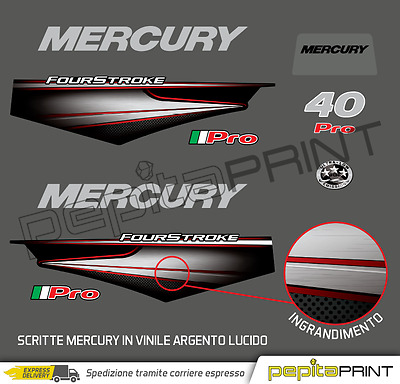 KIT adesivi motore MERCURY 40 PRO four stroke efi plastificati outboard stickers