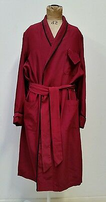 Mens Vintage 50s 60s Lt Weight Dk Red Satin Bed Coat Dressing Gown w Belt M 38""