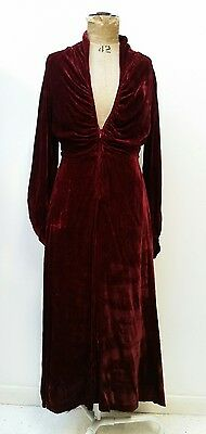 Original Vintage 70s Deep Red Soft Velvet Goth Bias Cut Midi Maxi Dress 10 12