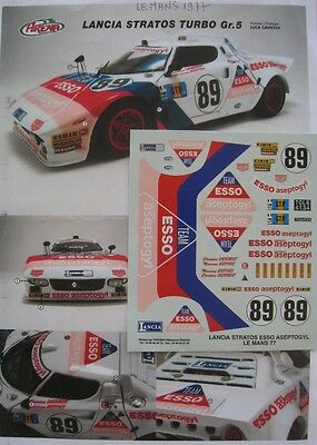 LANCIA STRATOS TURBO ESSO / ASEPTOGYL n° 89 LE MANS 1977 DECAL 1/24e