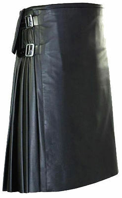 Men Black Leather Utility Kilt Custom Handmade Adult Scottish Highland Costume