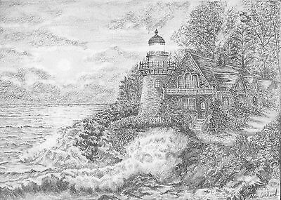 Light Across The Waves Signed & Numbered Limited Ed A4 Print Of Pencil Drawing