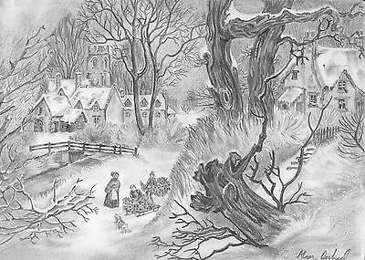 Gathering Holly Signed & Numbered Limited Edition A4 Print Of Pencil Drawing