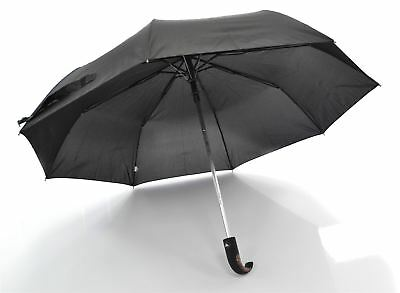 Superior Quality Black Auto Open Umbrella With Soft Grip Wooden Handle- Unisex