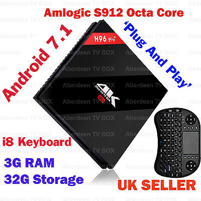 3GB/32G H96 Pro+ Android 7.1 TV BOX Amlogic S912 Octa Core 4K KODI 17, i8 keypad