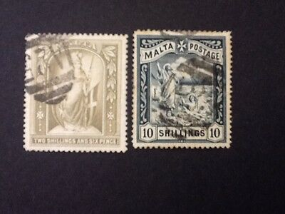 Malta 1899  2/6sh & 10/- SG #34-35  USED STAMPS Cat Value over $120.00 Lot 4616