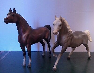 Vintage Breyers X2! Classic Bay Arabian Stallion and Pretty Gray Mare w/ Blanket