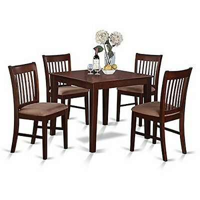 Mahogany Square Table and 4 Chairs 5-piece Dining Set Seat Furniture Home Decor