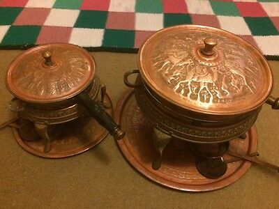 Vintage copper brass chafing dish pan Nader 27232 x 2 large small Antique
