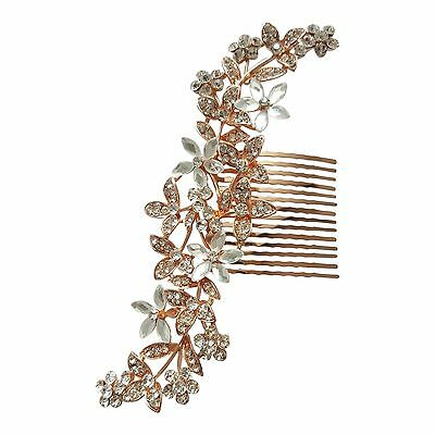 Bridal Hair Comb Headpiece Large Rose Gold Crystal Sparkle Vintage Diamante H238