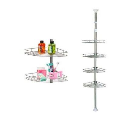 4 Tier Adjustable Telescopic Bathroom Corner Shower Shelf Rack Organiser Caddy