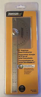 "New Nip Johnson 6"" Stainless Steel Protractor 1854-0000"