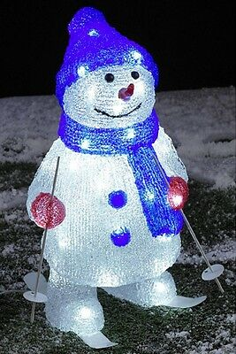 40cm Christmas Indoor or Outdoor Acrylic Snowman On Skis 48 LED Lights