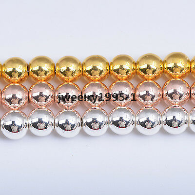 Silver Gold Rose Gold Round Magnetic Hematite Gemstone Loose Spacer Beads 6/8MM