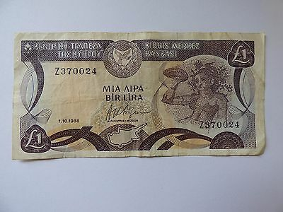 Centrol Bank of Cyprus one pound bank note 1988   Z370024 As Photo's