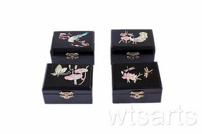 Small Black Lacquered Wooden Chinese Jewellery Box