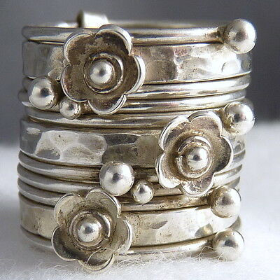STACK 11 Hoops Wide RING Size US 6.75 SILVERSARI Solid 925 Sterling Silver
