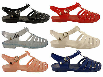 Womens Ladies Flat Jelly Shoes With Buckle Sandals Beach 6 Colours Uk3-8 New