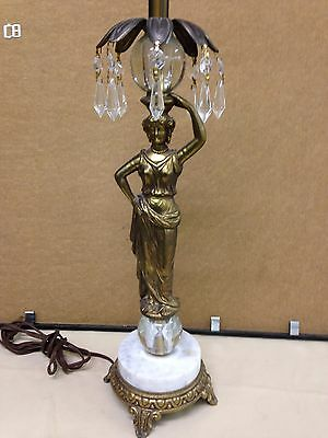 ANTIQUE BRONZE FIGURAL LAMP Grecian Woman MARBLE BASE CRYSTAL PRISMS Art Deco