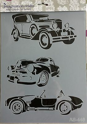 Imagination Crafts A4 Mixed Media Art Stencil- Vintage Cars AS-446