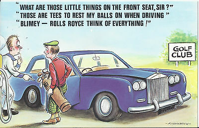 Vintage 1970's Bamforth COMIC Postcard (as new condition) ROLLS ROYCE Balls #262