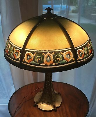 Bradley Hubbard Cast Iron Reverse Painted Ribbed Shade Art Nouveau Lamp Light