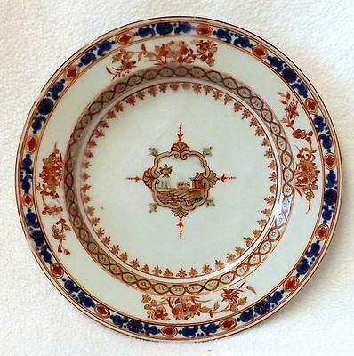 18th/19th Century Chinese Plate in The Imari Palette Central Cartouche of a View