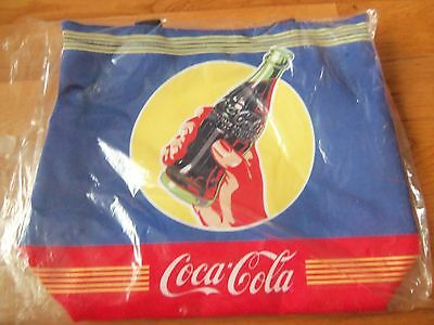 NWT Official Coca Cola Large Tote Purse Bag~Blue Red & Yellow~Bottle Hand