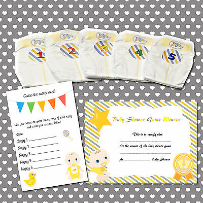 Dirty Nappy Baby Shower Game, 10+ Players Girl, Boy, Neutral, Blue, Pink, Yellow