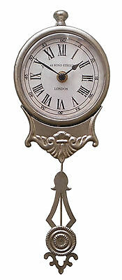 Shabby Chic Brushed Silver PENDULUM WALL CLOCK Vintage Antique French Style